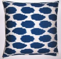 Ikat Print Nautical Blue organic cotton pillow cover- DAYBED - Would love to use this to recover an old rocking chair