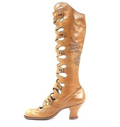 Tan Knee High Leather Boots - 1910-15 - Made in Russia - @~ Mlle