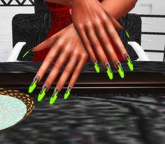 The Sims 4 honeysglamshop Neon Green Flame Nails The Sims, Sims Cc, Neon Green Nails, Neon Nails, Black Nail Polish, Black Nails, Snake Skin Nails, Sims 4 Nails, Gucci Nails