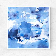 Printable art Indigo Blue watercolor abstract painting