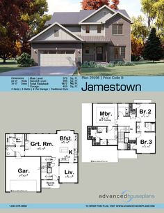 2 Story Traditional House Plan | Jamestown Sims House Plans, Two Story House Plans, Family House Plans, New House Plans, Dream House Plans, Modern Farmhouse Exterior, Farmhouse Plans, Small Modern House Plans, Suburban House