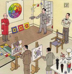 """Theo van Doesburg visiting bauhaus in """"En Toen De Stijl"""" by Joost Swarte"""