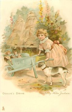 DOLLIE'S DRIVE-painted by Helen Jackson..ART, CHROMOGRAPHED IN GERMANY, same images, French backs SERIE 628 First Use:	23/12/1903