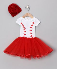 Take a look at this Red Baseball Tutu Set by Babyball Clothing on #zulily today!