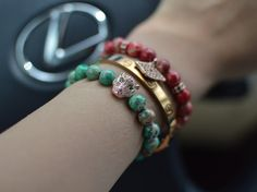 Club Dzign specializes in custom hand crafted beaded bracelets, natural python skin bracelets as well as crocodile embossed leather cardholders. Stone Bracelet, Healing Stones, Natural Stones, Beaded Bracelets, Luxury, Leather, Crafts, Jewelry, Women