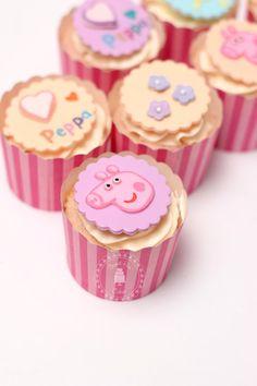 Fondant Peppa Pig Theme Cupcake Toppers  set by SweetPeaCakesArt