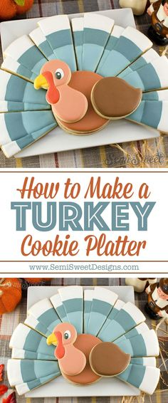 A step-by-step tutorial (with video!) on how to decorate this turkey cookie platter with royal icing. A step-by-step tutorial (with video!) on how to decorate this turkey cookie platter with royal icing. Turkey Cookies, Fall Cookies, Cut Out Cookies, Cute Cookies, Cupcake Cookies, Sugar Cookies, Onesie Cookies, Cupcakes, Thanksgiving Cookies