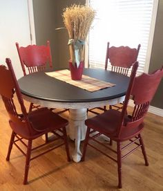 dining set in java gel stain and brick red milk paint - Colorful Dining Room Tables