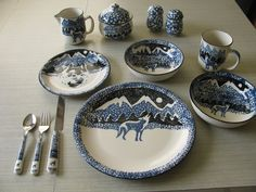 Wolf Folk Craft by Tienshan 53 pieces 6 place setting Dinnertime tablewear