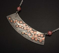 Cherry blossoms Keum Boo necklace of silver II by KAZNESQ on Etsy, $188.00