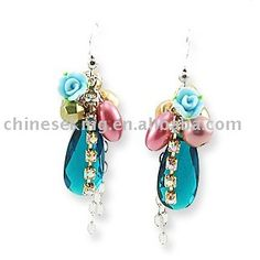 Diy Bead Earring With Polymer Clay Flower And Crystal Stones,Fashion Earrings Jewelry Photo, Detailed about Diy Bead Earring With Polymer Cl...
