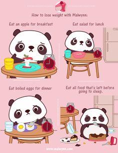 How to lose weight Niedlicher Panda, Cartoon Panda, Panda Art, Panda Love, Cute Panda, Cute Kawaii Animals, Kawaii Cute, Panda Wallpapers, Cute Wallpapers