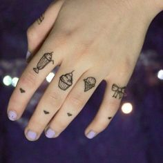 Milkshake, cupcake, Ice cream & Bow Finger tattoos I have found the perfect combo for my finger tattoos