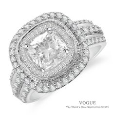 Item Details: SRR115493 R76/0.65 B29/0.26 14KW 6MM  She^s the one you dream about, give her the ring she dreams about. A halo of diamond baguettes surround your 6.0mm round or cushion shape center stone. The center halo is accented with an outer halo of round diamonds. The ring has 0.26cts of Ideal Cut diamonds and 0.65cts of baguette cut diamonds, F-G Color, SI1 Clarity set in 14Kt White, Pink, and/or Yellow Gold. Matching band is available as a special order