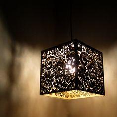 Wood Lace Pendant Light Hanging Lamp Laser Cut by FabParlor