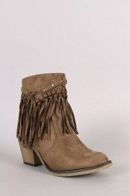 Free SH & Easy Returns! Shop Fringe Chunky Heeled Western Ankle Boots. These ankle boots feature a decorative studs/fringe detail, round toe, and chunky heel.