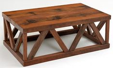 This more traditionally designed rustic contemporary coffee table offers an urban chic look. The table could be used in anything from a farmhouse to an urban loft.