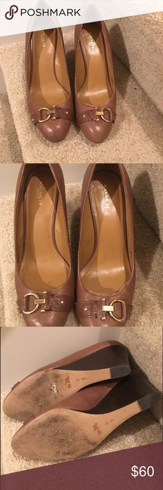 Coach Camel Wedges Cute camel wedges, as you can see in picture one of the shoe needs repair Coach Shoes Wedges