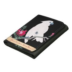 Cool japanese white cockatoo parrot tropical bird leather trifold wallets