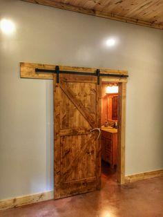 Barn door with antler handle Sliding Barn Door Hardware, Sliding Doors, Barn Doors, Front Porch Remodel, Barn Door Rollers, Small Barns, Entryway Tables, Door Handles, Home Improvement