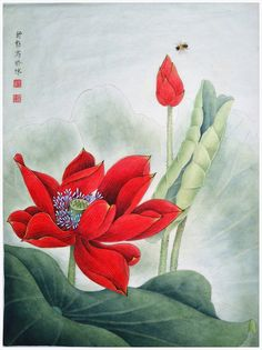 "Saatchi Art Artist: Qin Shu; Ink 2012 Painting ""Original Chinese Gongbi Painting - Elegant and Dazzling Lotus Flower"""