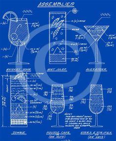 Blue martini cocktail recipe layout blueprint style bar art drafting 302 bar art malvernweather Choice Image