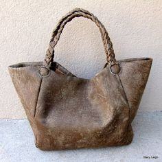 Slouchy Leather Tote Bag in Olive Brown Distressed