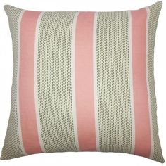 Velten Striped Pillow ($49) ❤ liked on Polyvore featuring home, home decor, throw pillows, pink accent pillows, striped throw pillows, pink throw pillows, pink toss pillows and grey and white throw pillows