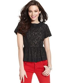 French Connection Top, Short-Sleeve Lace Peplum - Tops - Women - Macy's