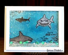 "Shaker Card with Sharks by Larissa Heskett | Shark Week ~ ""Shark Bites"" with Newton's Nook Designs!! =)"