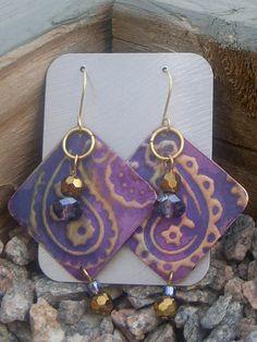 Large Purple Paisley Hand Embossed Metal with Crystal Earrings $16!