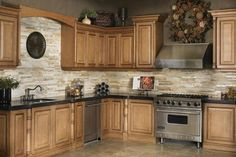 Big fan of neutral colors. Nice stove/oven! Grout Sensation keeps tile and grout in rooms like this clean by cleaning super fast with little effort. It's the only one that works! Available at Ace Hardware. Visit website link for more pictures like this one. Don't forget to Repin :-)