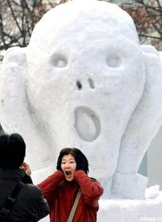 """The Scream"" in snow ""OMG GURRL, THAT RED COAT IS SO FABULOUS! WHERE DID YOU GET IT?"