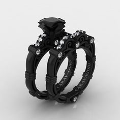 black wedding rings Art Masters Caravaggio Black and White Gold Ct Princess Black and White Diamond Engagement Ring Wedding Band Set Black Wedding Rings, Diamond Wedding Rings, Black Rings, Wedding White, Diamond Rings, Sapphire Diamond, White Sapphire, Gothic Wedding Rings, Solitaire Rings