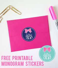 Free Printable Monogram Bow Stickers from printablemonogram.com #freeprintable #monogram