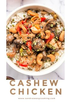 Cashew Chicken is one of my favorite comfort foods when the weather is gloomy and I need something to hug me on the inside. Easy Dinner Recipes, Easy Meals, Easy Recipes, Leftover Turkey Recipes, Cashew Chicken, Best Chicken Recipes, Yum Yum Chicken, Slow Cooker Chicken, Easy Cooking