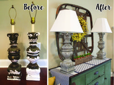 Plaster Lamp Makeover - The Hamby Home Do It Yourself Projects, Cool Diy Projects, Makeover Before And After, Lamp Makeover, Diy Home Crafts, Lamp Bases, Chandelier Lighting, Decoration, Shabby Chic