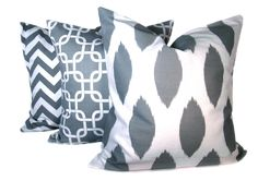 decorative pillows gray and white covers by poshstreetpillows via Etsy.