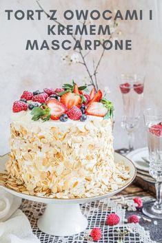 Cake with fresh fruit and mascarpone cream - Ania's Vibrant Kitchen Birthday Cake For Mom, Birthday Cakes, 2nd Birthday, Cake Recipes, Dessert Recipes, Desserts, Melon Cake, Fresh Fruit Cake, Rum Cake