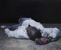 "art-of-darkness: ""  Francois Bard — Recumbent,  2014.    Painting: oil on canvas, 150 x 195 cm.   • Realism • Hyperrealism • Contemporary Figurative Painting """