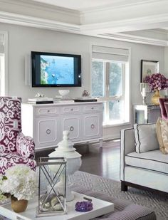 White, gold and purple living room. {Another angle}