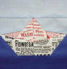 Origami boat paper pieced quilt block