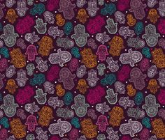 Hamsa hand of fatima moroccan arabic ornament pattern fabric by littlesmilemakers on Spoonflower. Cute traditional female religious ornament pattern.