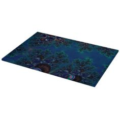 Midnight Blue Frost Crystals Fractal #Glass #Cuttingboard...#kitchenware  #kitchen  #dining   #home decor #interior decoration #food  #dining room #drink #accessories #dishes #dishware  #fractals #abstracts #digitalart