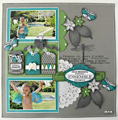 2 photo like the grey dragonfly and leaves on grey background. Could adapt to heritage page. Cruise Scrapbook, Kids Scrapbook, Travel Scrapbook, Scrapbook Albums, Scrapbook Cards, Wedding Scrapbook, Scrapbooking Ideas, Scrapbook Sketches, Scrapbook Page Layouts