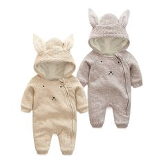 28.49$  Buy here - http://alij1w.shopchina.info/go.php?t=32774990300 - autumn Winter  Warm Thick  Knitted Sweater Baby Rompers Coral Fleece Newborn Boys Girls Jumpsuits SnowSuit Infant Hooded Outwear 28.49$ #SHOPPING