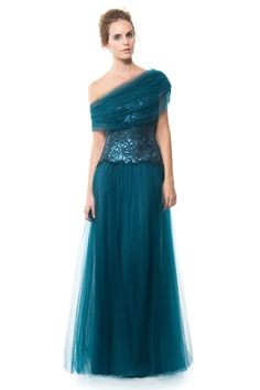 Sequin and Tulle Ball Gown | Tadashi Shoji- I don't like the sequins, but the shoulder style is awesome!