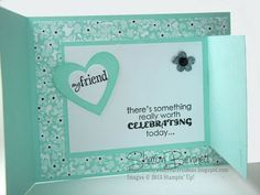 Joy Fold Birthday Card Sweet Sorbet by sharon bennett at crafty and creative ideas (inside of joy fold birthday card) Joy Fold Card, Fancy Fold Cards, Folded Cards, Stamping Up, Birthday Cards, Happy Birthday, Sorbet, Stampin Up Cards, I Card