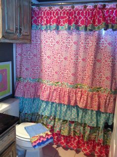 Hey, I Found This Really Awesome Etsy Listing At Https://www. Ruffled Shower  CurtainsFloral CurtainsGirl ...