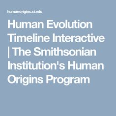 Human Evolution Timeline Interactive | The Smithsonian Institution's Human Origins Program